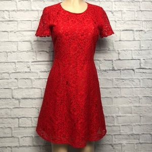 J. Crew Red Lace A Line Cocktail Dress NWOT Sz 2